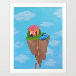 Floating island house Art Print