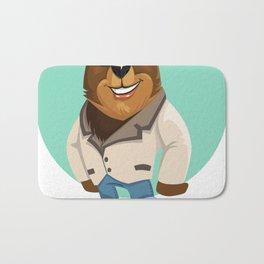 Cool California Hippie Brown Bear Artwork Bath Mat