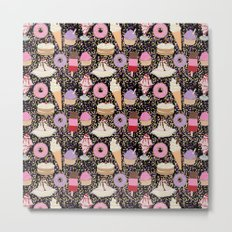 Sweet treats pattern with ice cream and doughnuts, donuts Metal Print