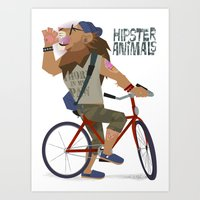 hipster lion Art Prints featuring hipster animals - lion bike by Dyna Moe