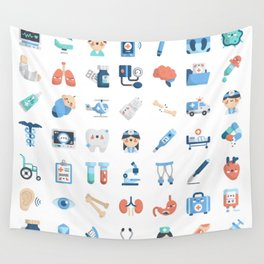 CUTE MEDICINE / SCIENCE / DOCTOR PATTERN Wall Tapestry