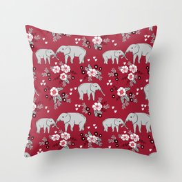 Alabama university crimson tide elephant pattern college sports alumni gifts Throw Pillow
