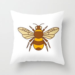 Bumble Bee Icon Throw Pillow