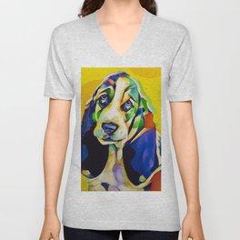 Pop Art Basset Hound Unisex V-Neck