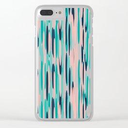 Boho Striped Pattern, Teal, Pink, Indigo Blue Clear iPhone Case