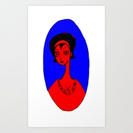 Housewife in Red Art Print