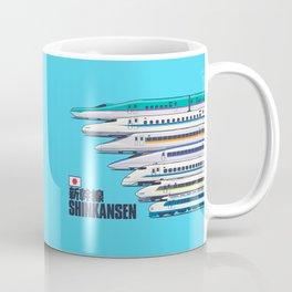 Shinkansen Bullet Train Evolution - Cyan Coffee Mug