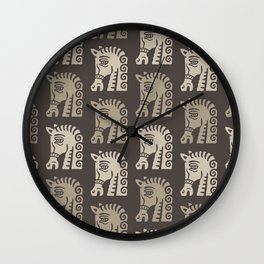 Mid Century Horse Pattern Neutral Wall Clock