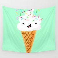 sprinkles Wall Tapestries featuring Happiness Is Sprinkles On Your Ice Cream by Designs By Misty Blue (Misty Lemons)