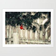 Snowy Day Cardinal Art Print
