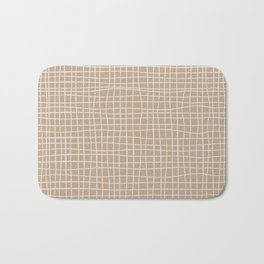 White and Brown Weave Pattern Bath Mat