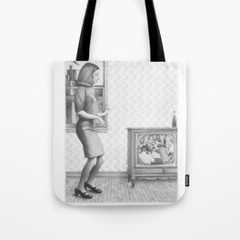 Girl with TV Tote Bag