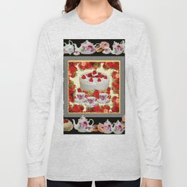 STRAWBERRY CAKE TEA PARTY TEA POTS COMPOSITION Long Sleeve T-shirt