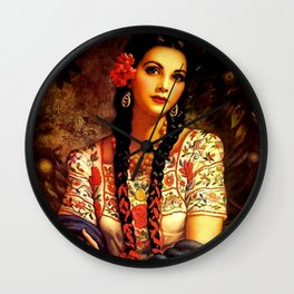 Jesus Helguera Painting of a Mexican Calendar Girl with Braids Wall Clock