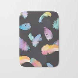 Colorful Feather Dark Backgorund Bath Mat