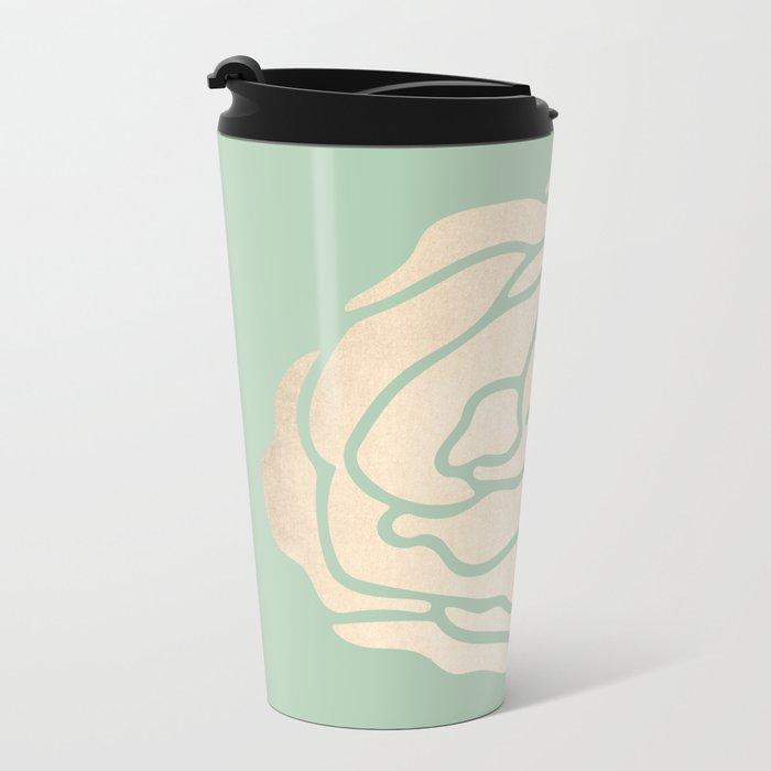 Rose White Gold Sands on Pastel Green Cactus Metal Travel Mug