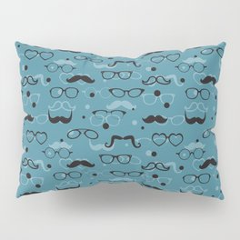 Hipster Elements Pattern on blue Pillow Sham