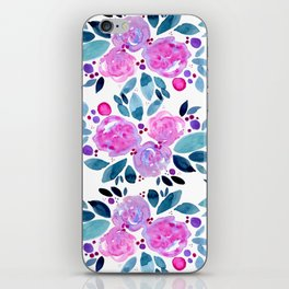 Abstract roses bouquet - pink and teal iPhone Skin