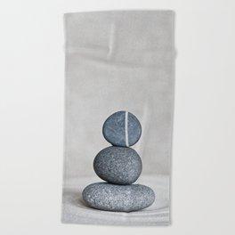 Zen cairn pebble stone balance grey Beach Towel