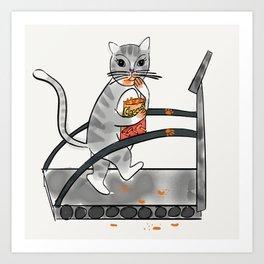 Cat on treadmill eating Cheetos Art Print