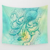 kraken Wall Tapestries featuring Kraken by pakowacz