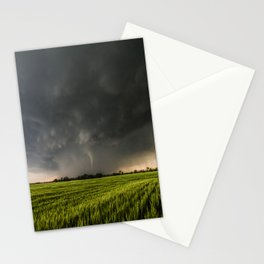 Beautiful Storm - Tornado Emerges From Rain Over Wheat Field in Kansas Stationery Cards