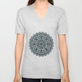 Geo-Circle. Grey. White Background. Unisex V-Neck