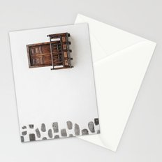 Wooden window door and balcony in a white wall. La Palma, Canary Island. Stationery Cards