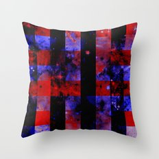 Checkered Space - Abstract Space Painting In Red, Black And Blue Throw Pillow