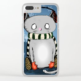 Snow Kitty Clear iPhone Case