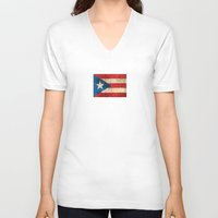 puerto rico V-neck T-shirts featuring Vintage Aged and Scratched Puerto Rican Flag by Jeff Bartels