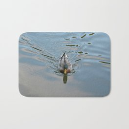 Mallard duck swimming in a turquoise lake 2 Bath Mat