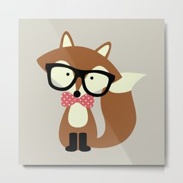 Glasses and Bow Tie Hipster Brown Fox Metal Print