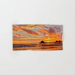 California Dreaming (cropped) ~ Huntington Beach Pier Hand & Bath Towel