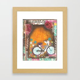 Bicycle with flowers Framed Art Print