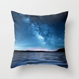 Duck prints on Lime Lake Ice under the Milky Way Throw Pillow