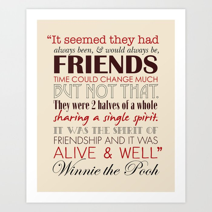 Winnie The Pooh Quote About Friendship Endearing Winnie The Pooh Friendship Quote  Tan & Red Art Print.