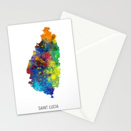 Saint Lucia Watercolor Map Stationery Cards