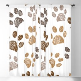 Brown colored paw print background Blackout Curtain