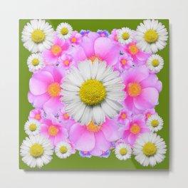 Avocado Color Shasta Daisies Rose Pattern Garden Metal Print