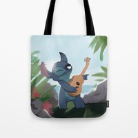lilo and stitch Tote Bags featuring Stitch (Lilo & Stitch) by Bana Sakhnini