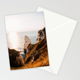 Sunset Etrerat France | chalk cliffs | coast | sea | ocean | pastel colored | Normandie Stationery Cards