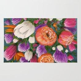 Sea of Flowers, Bright Floral Painting, Orange, Purple, White Flowers Rug