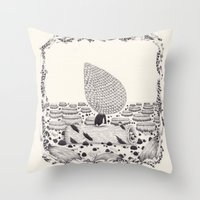 sad Throw Pillows featuring sad by yohan sacre