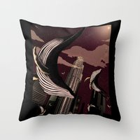 carnage Throw Pillows featuring Whale Carnage by Earnestly Elsewhere
