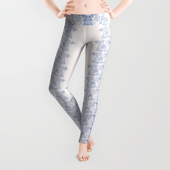 small sarasa floral in blue Leggings