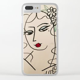 Sultry eyed babe Clear iPhone Case