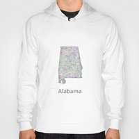 alabama Hoodies featuring Alabama map by David Zydd