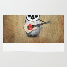 Baby Penguin Playing Japanese Flag Acoustic Guitar Rug