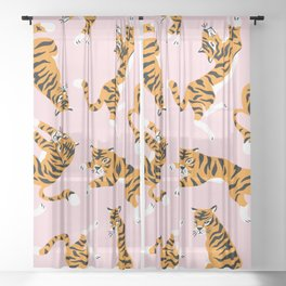 Cute tiger in the tropical forest hand drawn on pink background illustration Sheer Curtain